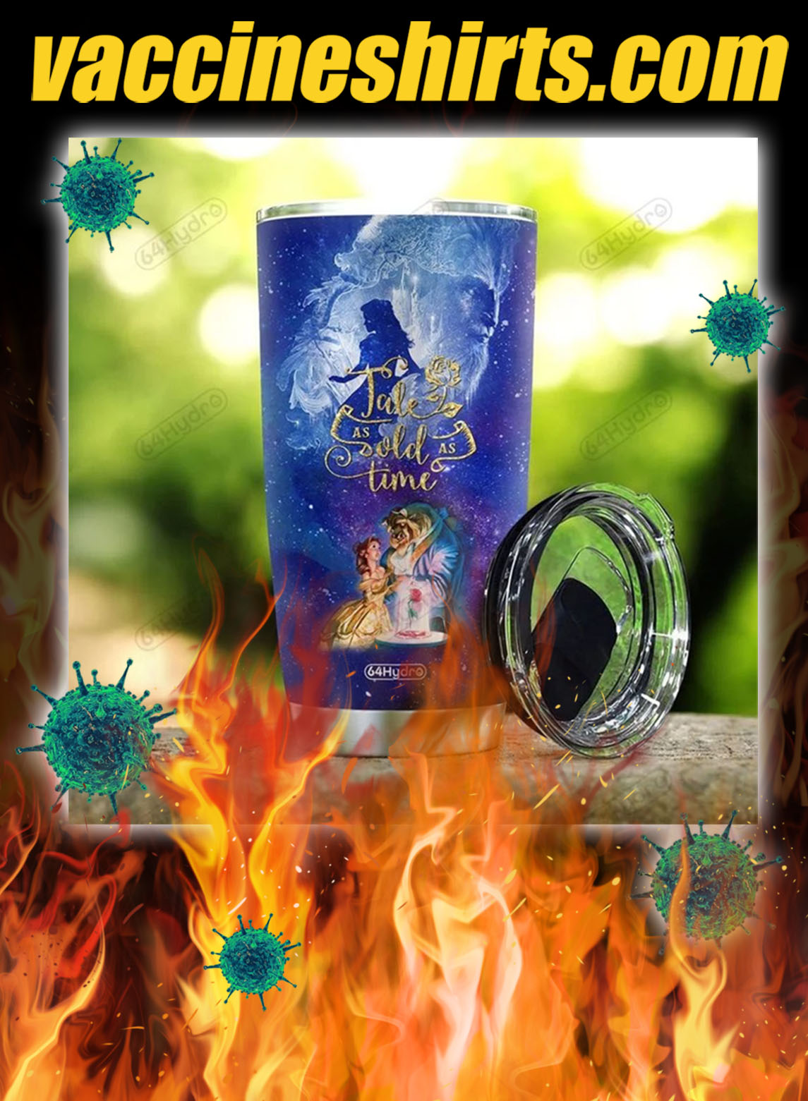 Beauty and the beast stainless steel tumbler- pic 1