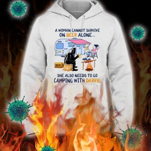 Bigfoot a woman cannot survive on beer alone she also needs to go camping with darryl hoodie