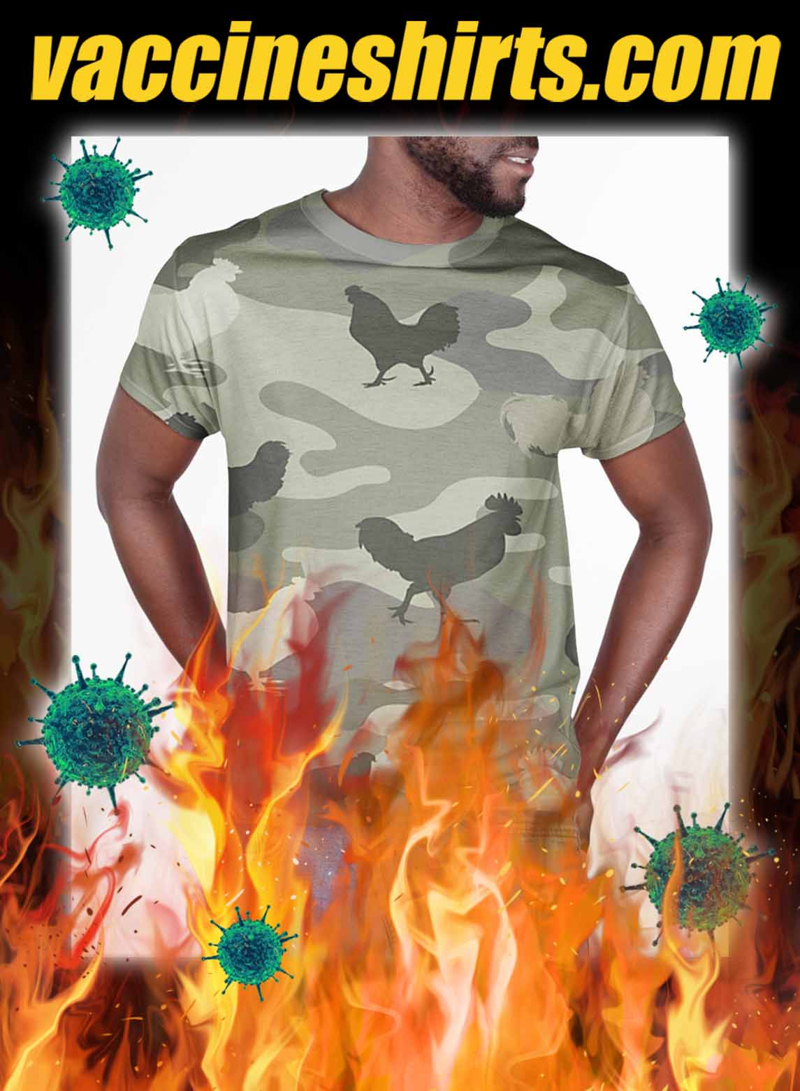 Chicken all over printed 3d shirt- pic 1