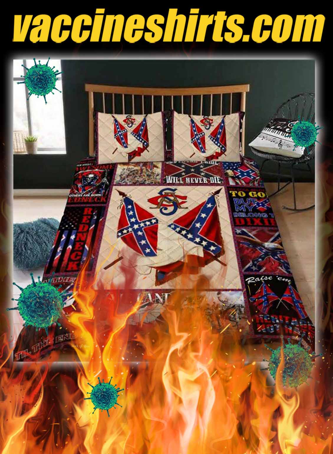 Confederate American History Quilt Bedding Set- queen