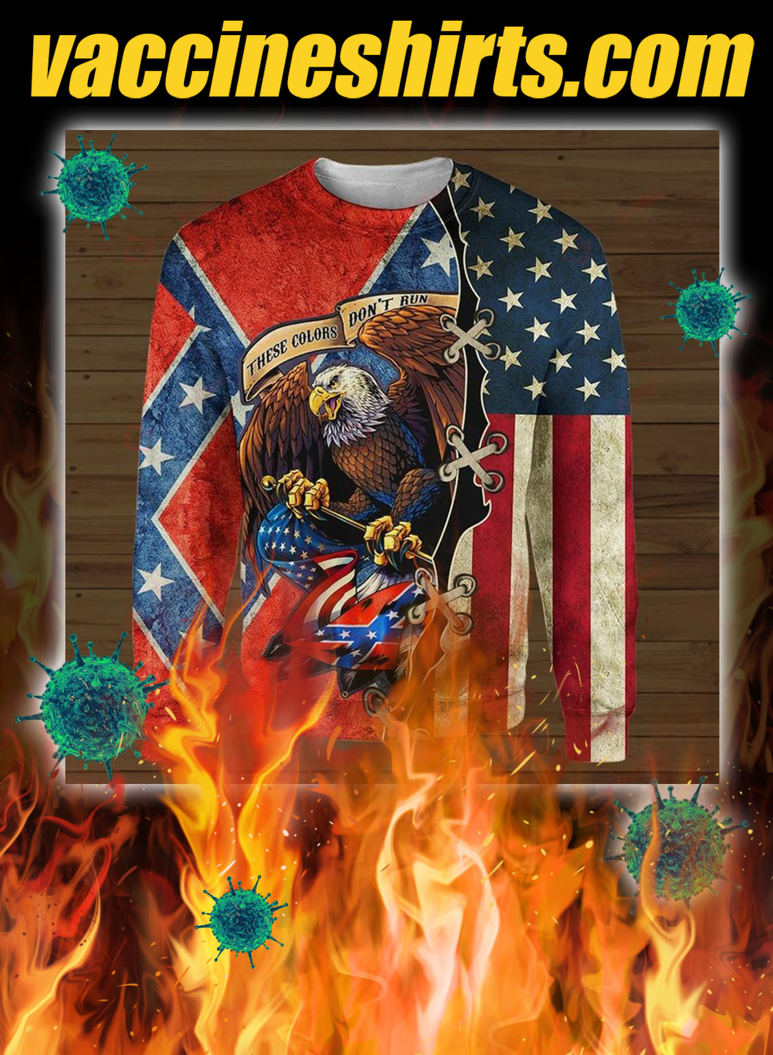 Confederate flag eagle these colors don't run 3d all over printed longsleeve tee