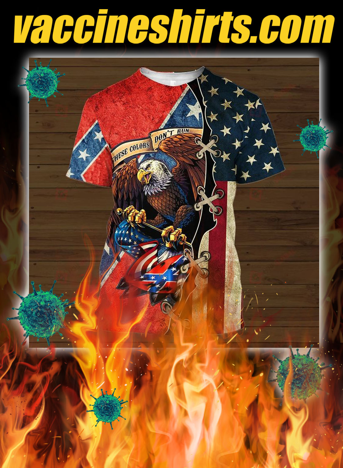 Confederate flag eagle these colors don't run 3d all over printed shirt