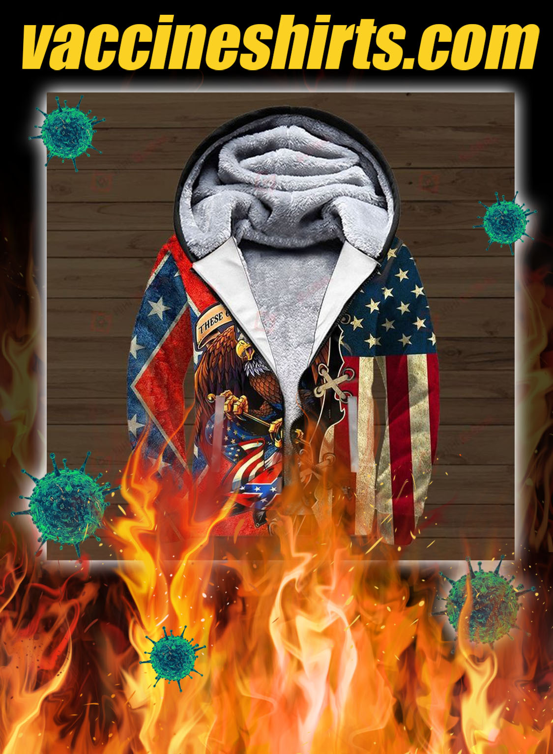 Confederate flag eagle these colors don't run 3d all over printed zip hoodie