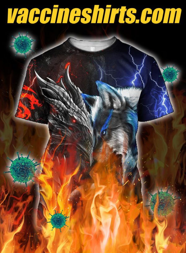 Dragon and wolf all over printed 3d shirt