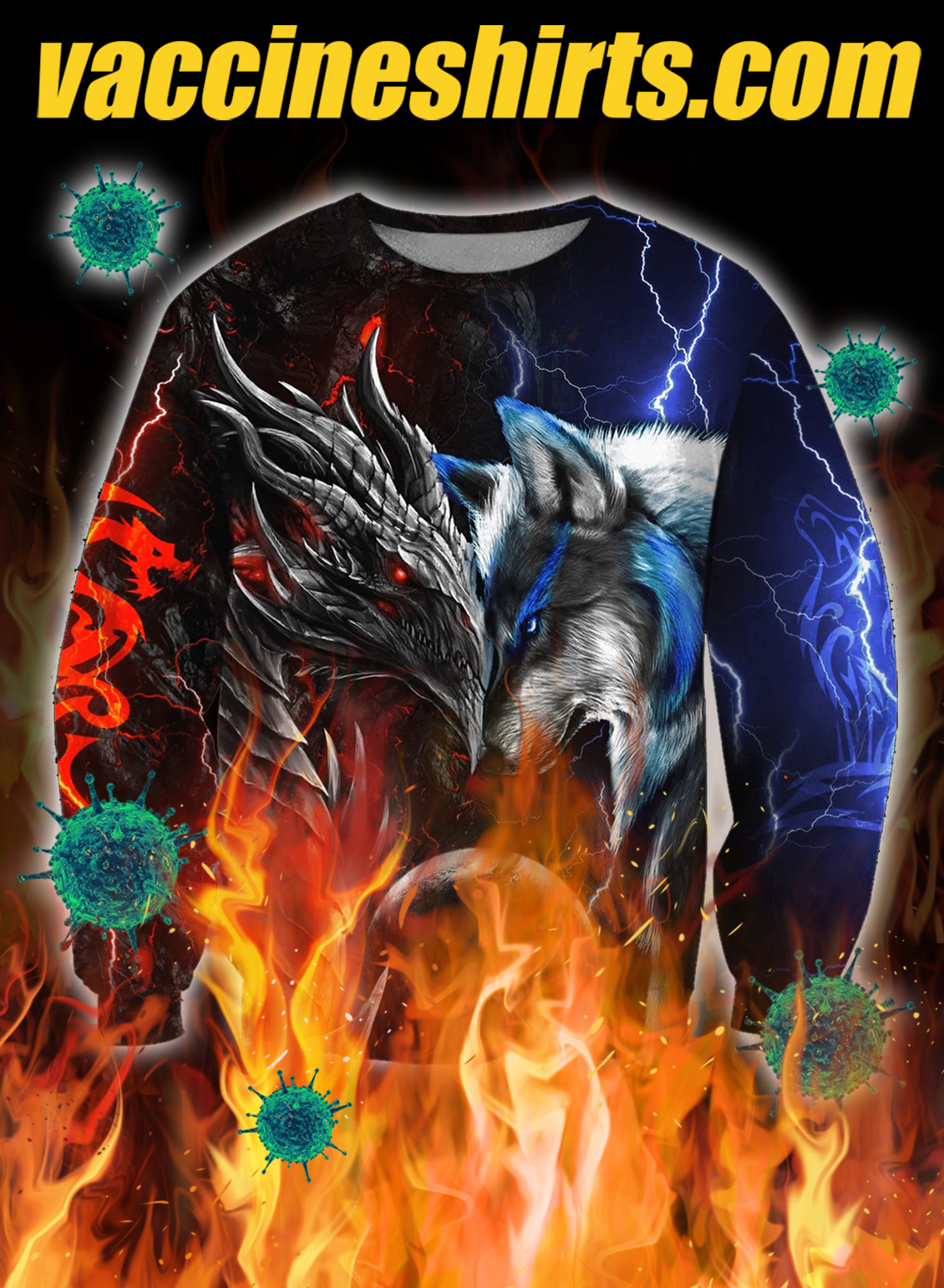 Dragon and wolf all over printed 3d sweatshirt