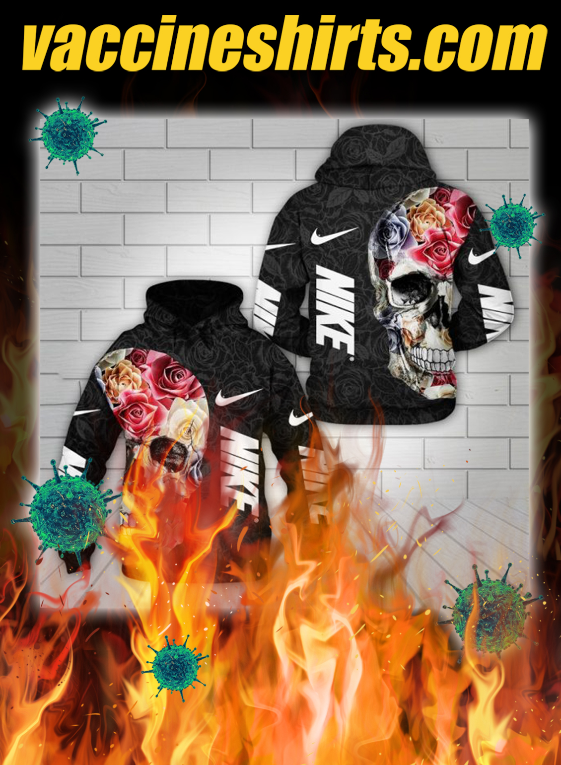 Flower skull nike all over printed 3d hoodie