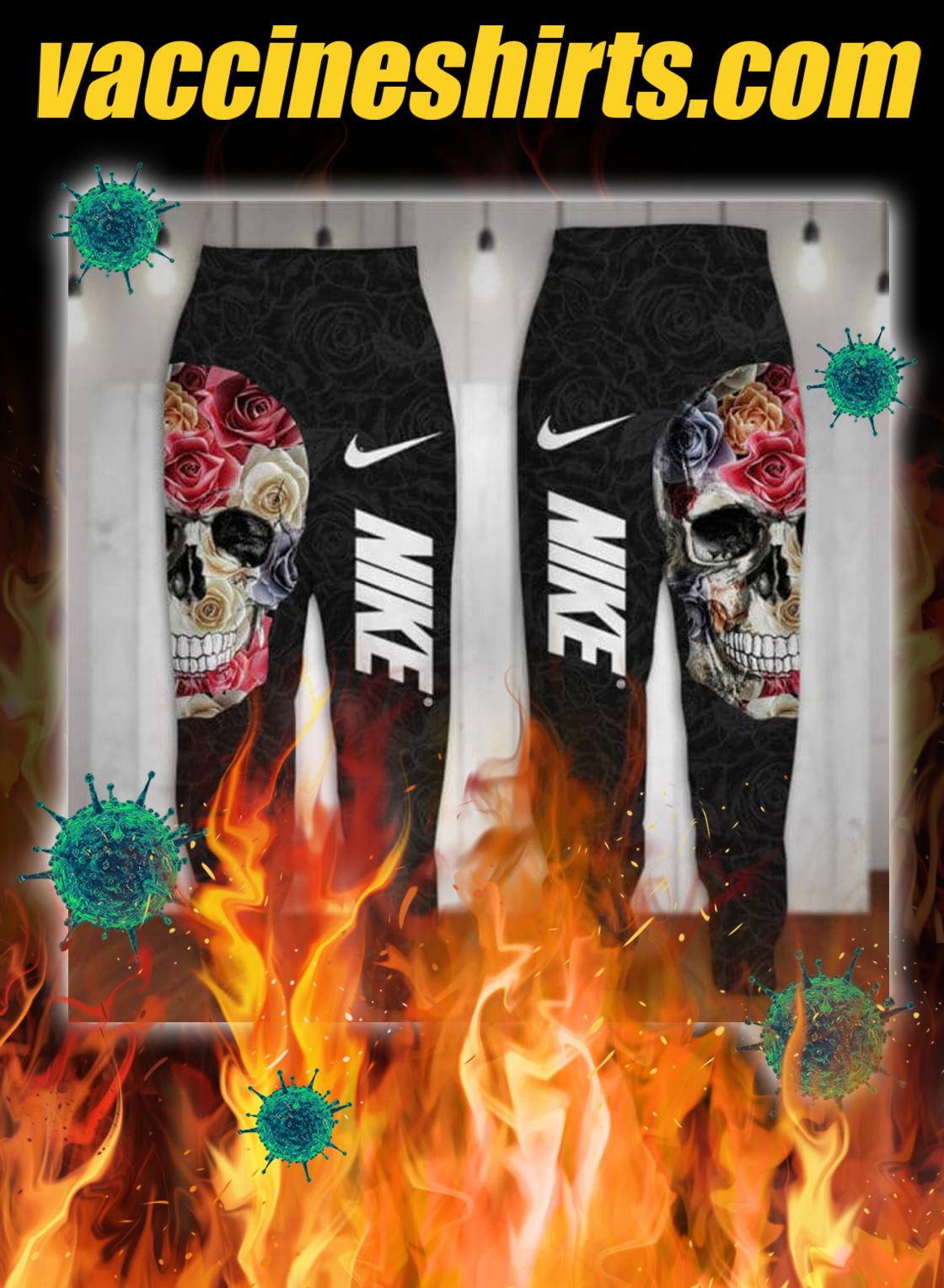 Flower skull nike all over printed 3d pants