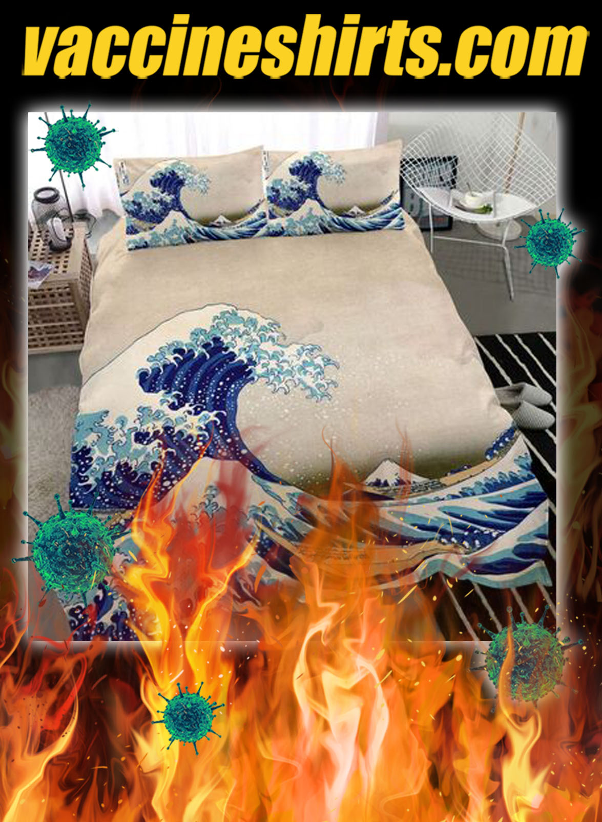 Great wave off kanagawa japanese bedding set- queen