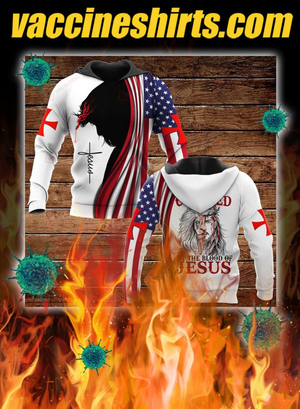I am covered by the blood of jesus all over printed 3d hoodie