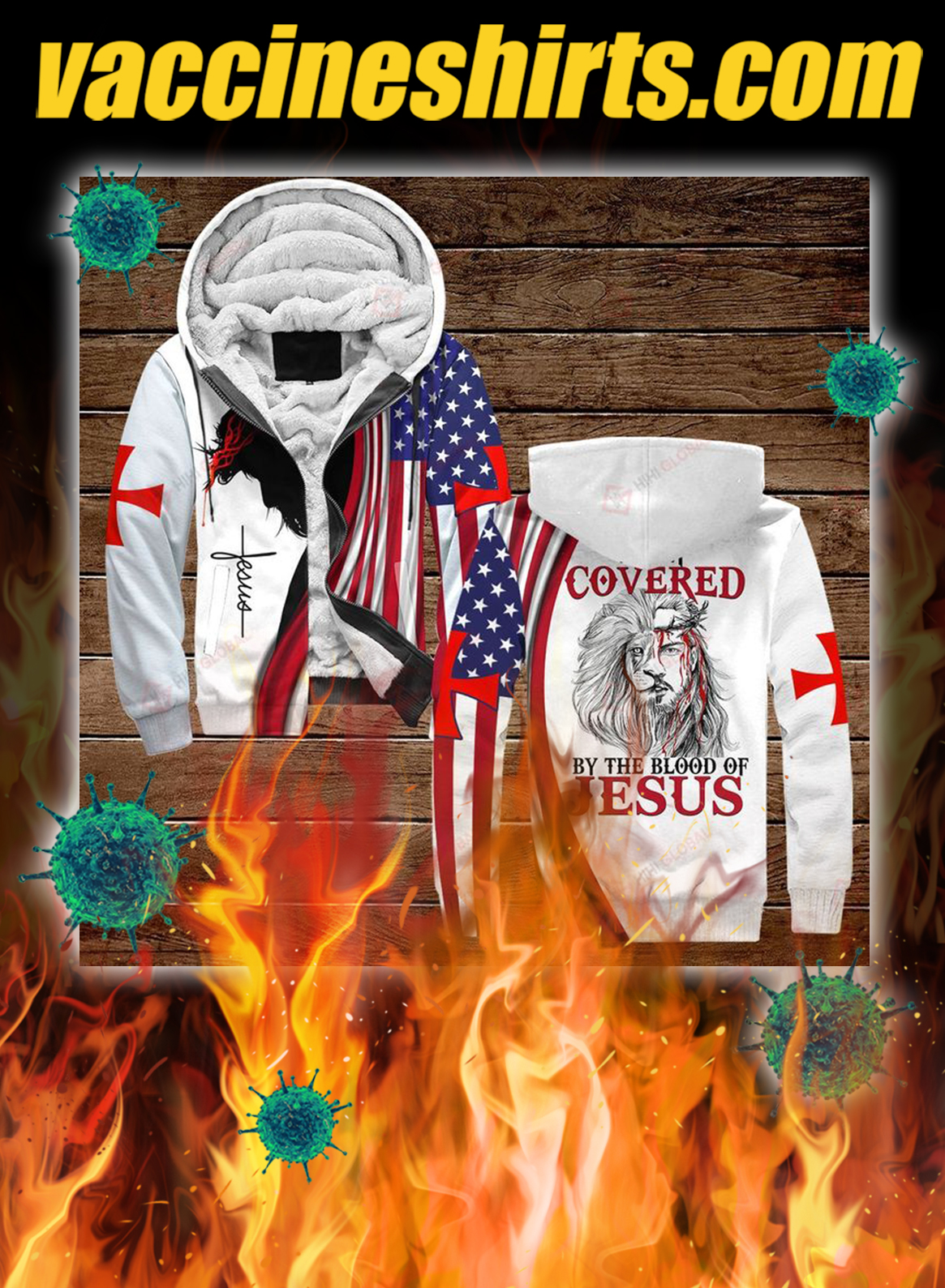 I am covered by the blood of jesus all over printed 3d zip hoodie