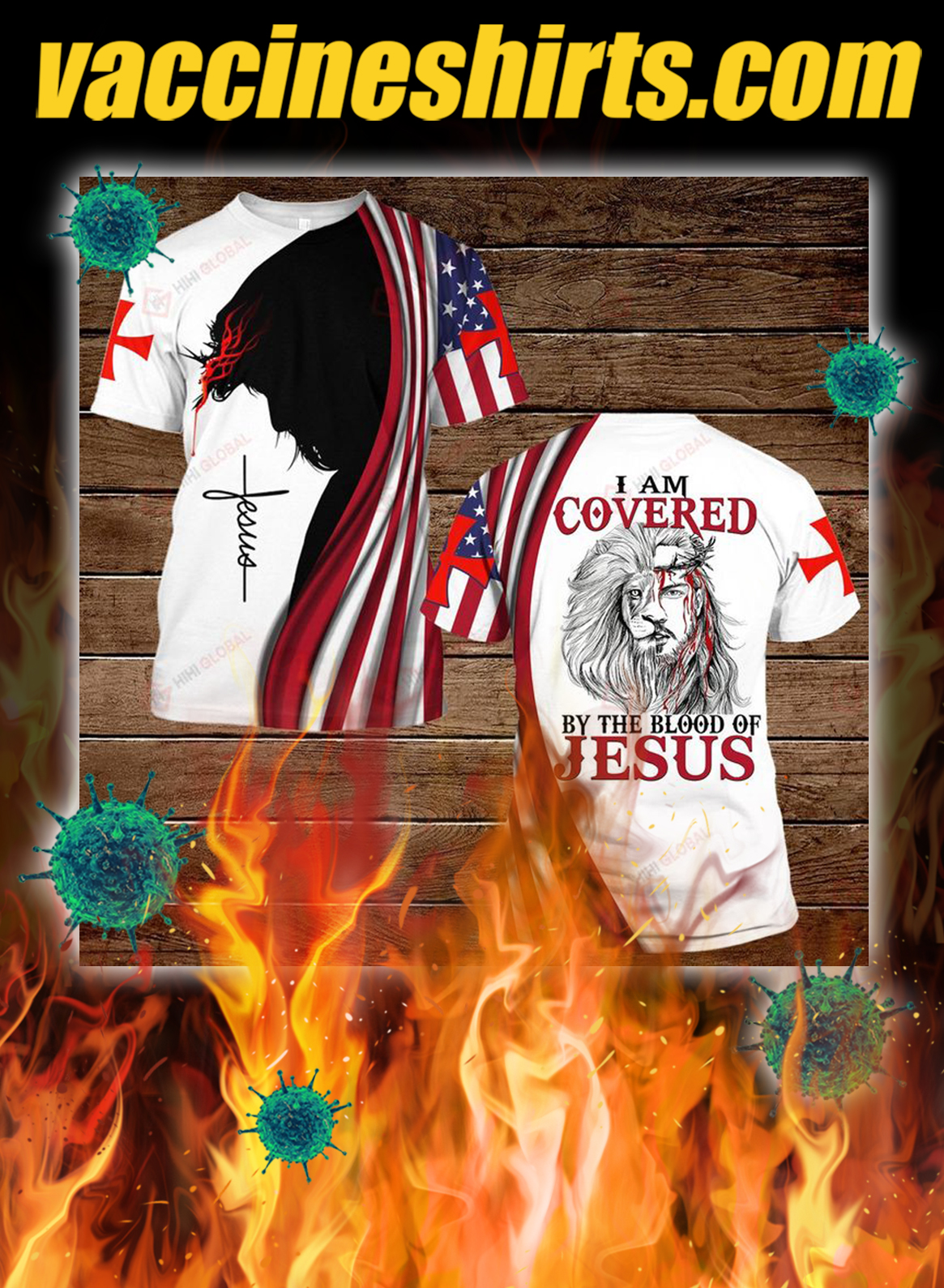 I am covered by the blood of jesus all over printed 3dt-shirt