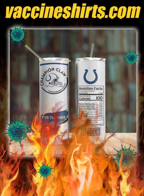Indianapolis colts champion claw skinny tumbler