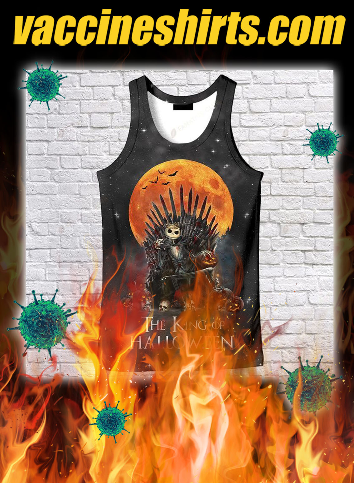 Jack skellington the king of halloween 3d all over print tank top