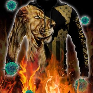 Lion one nation under god 3d all over printed hoodie