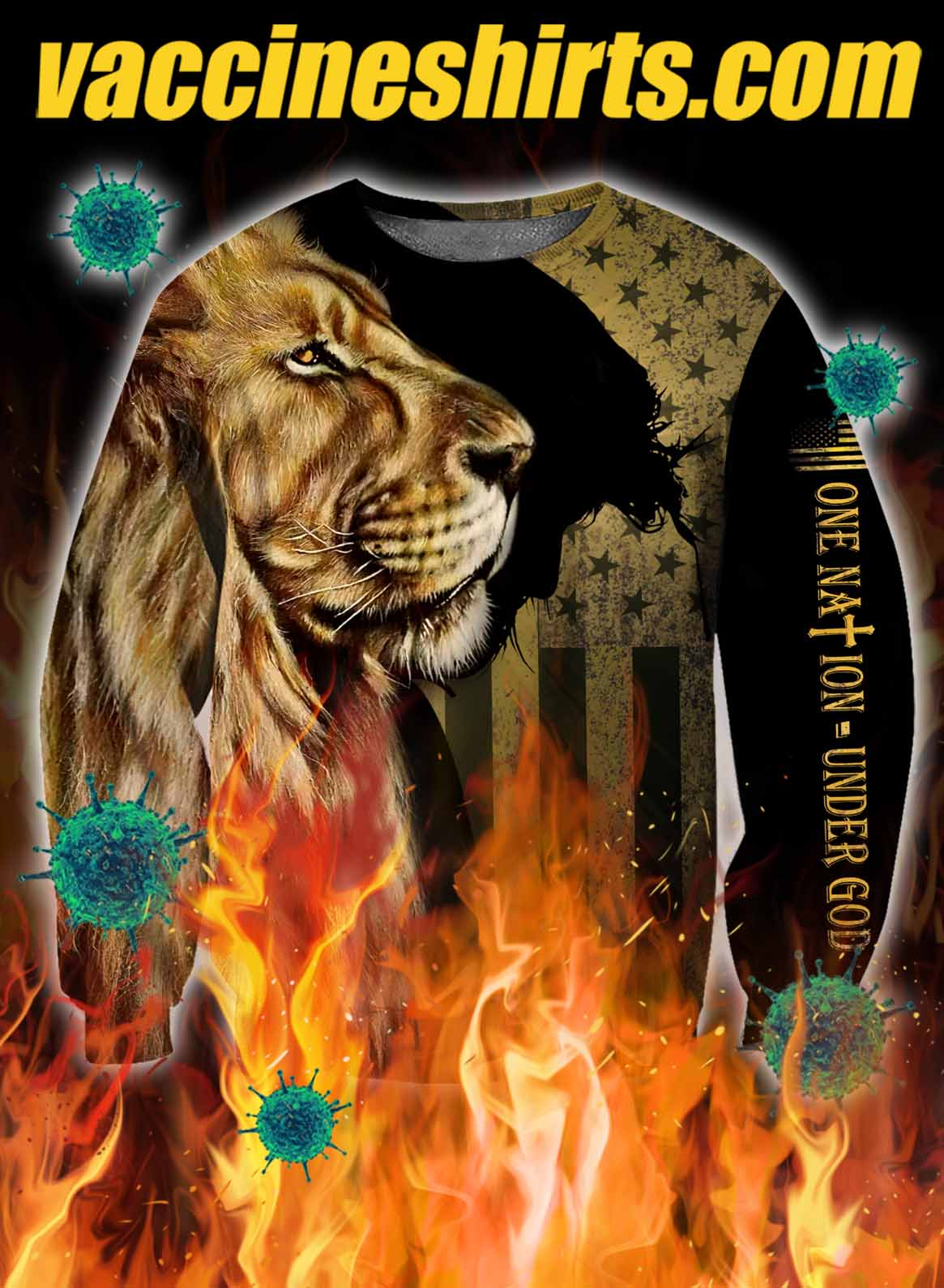 Lion one nation under god 3d all over printed sweatshirt