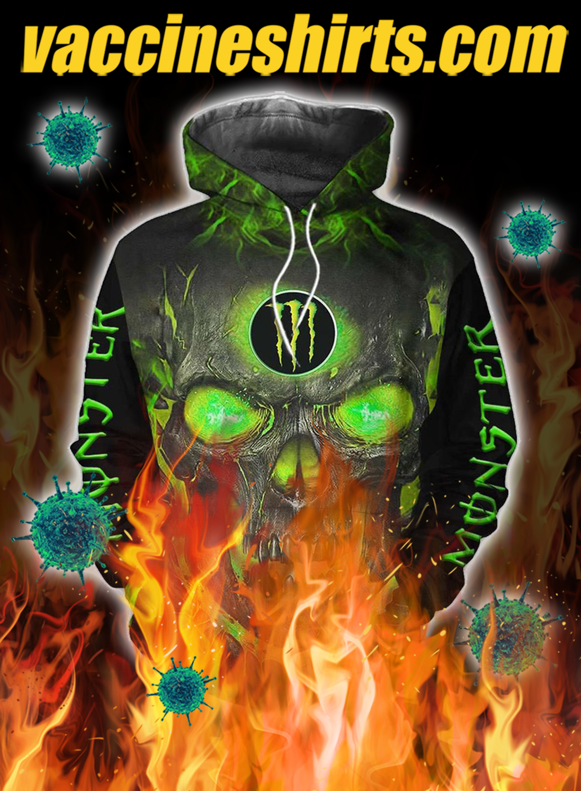Monster energy halloween skull 3d all over print hoodie - L