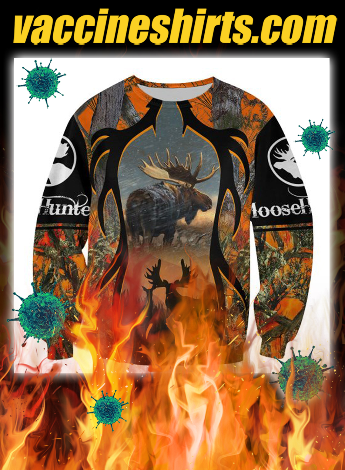 Moose hunting hunter camo 3d all over printed sweatshirt