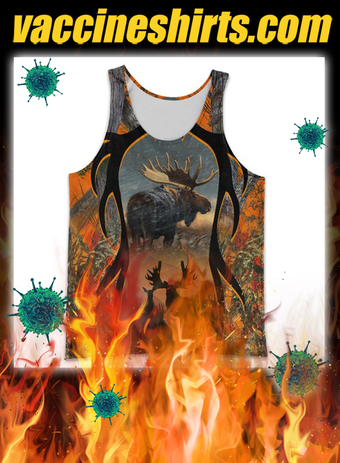 Moose hunting hunter camo 3d all over printed tank top
