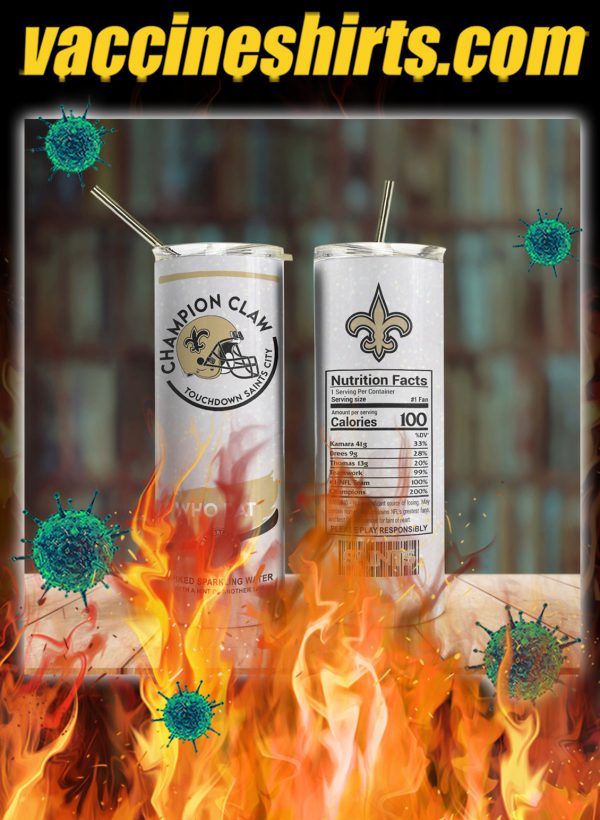 New orleans saints champion claw skinny tumbler