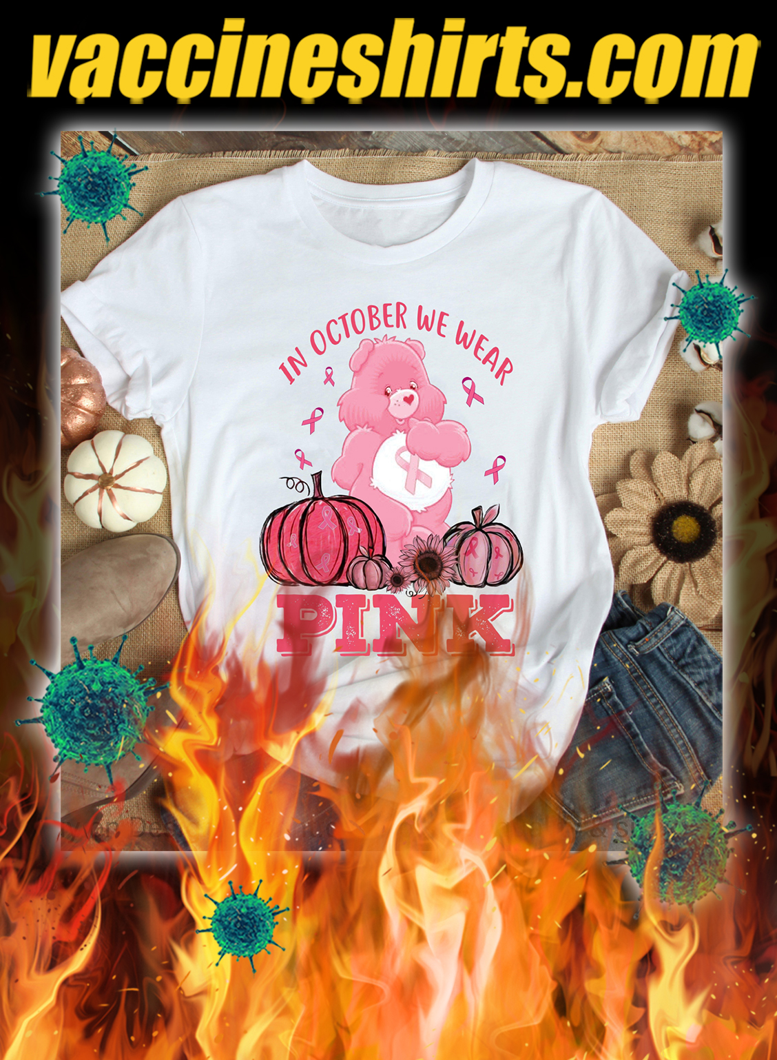 Personalized breast cancer bear in october we wear pink 3d shirt