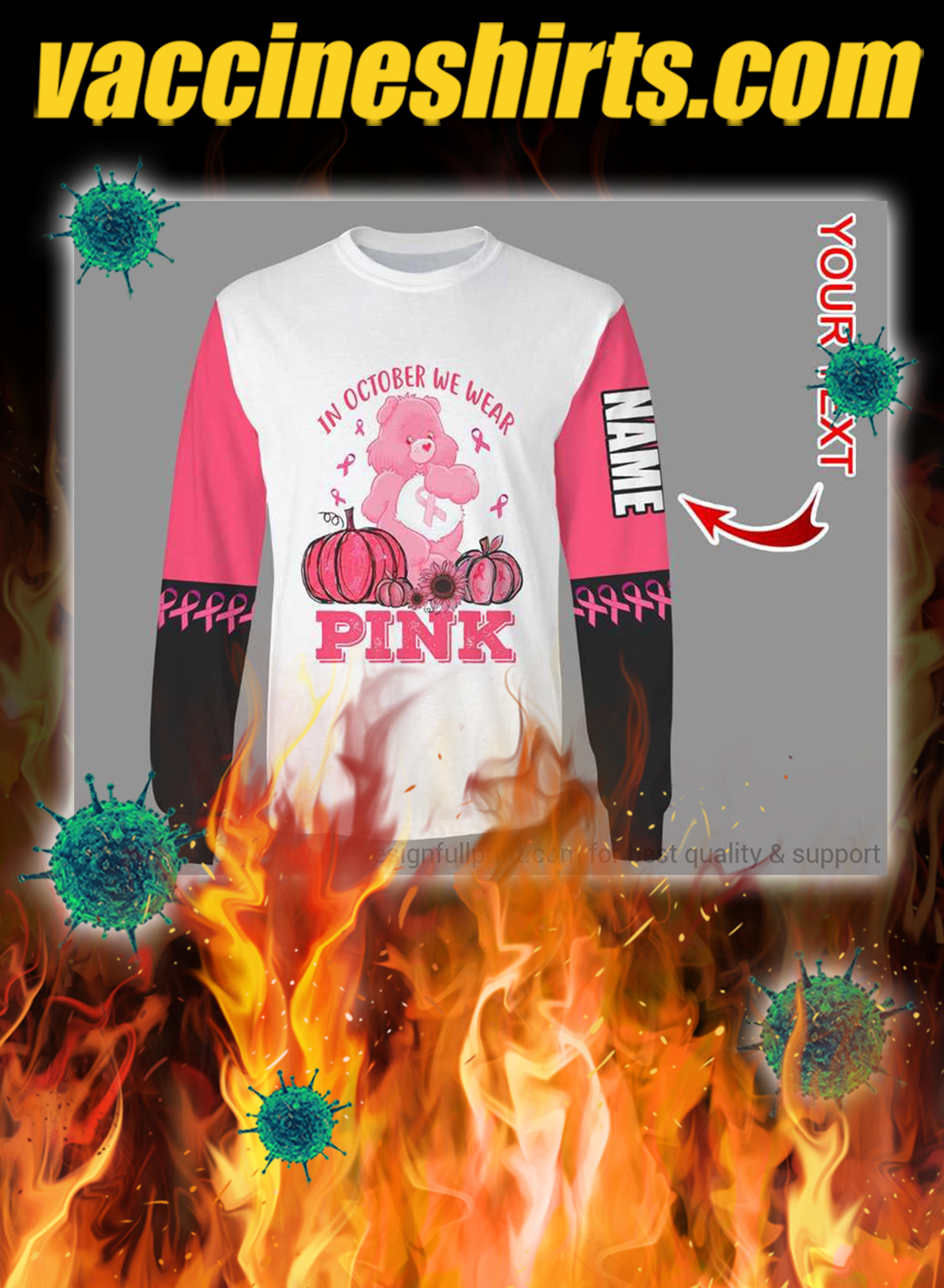 Personalized breast cancer bear in october we wear pink 3d sweatshirt