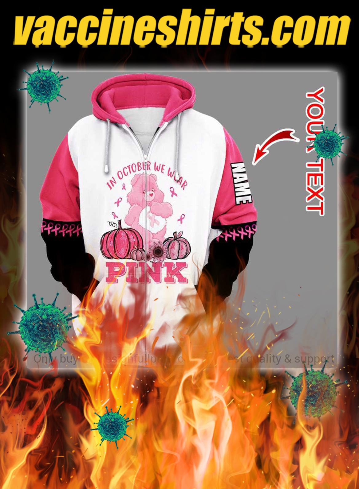 Personalized breast cancer bear in october we wear pink 3d zip hoodie