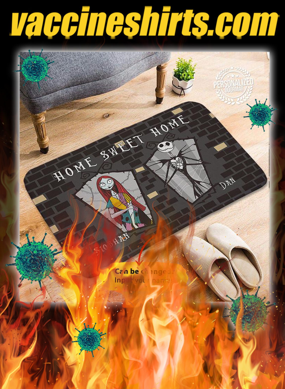 Personalized custom name Jack sally home sweet home doormat- pic 1