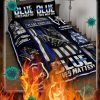 Police dog thin blue line blue lives matter quilt bed set