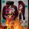 Purple skull flower 3d hoodie and legging