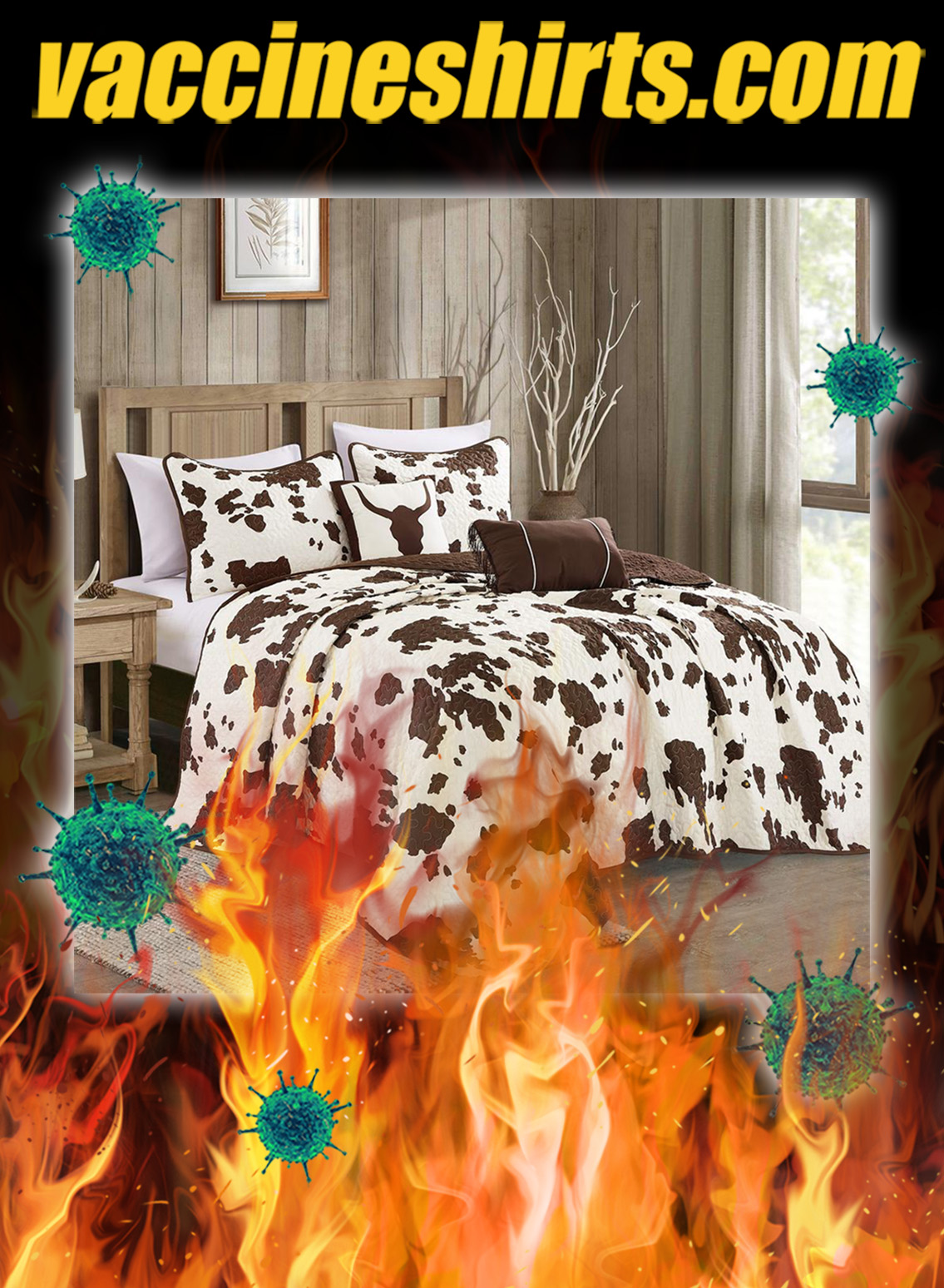 Rustic cowhide brown cow skull quilt bedding set - queen
