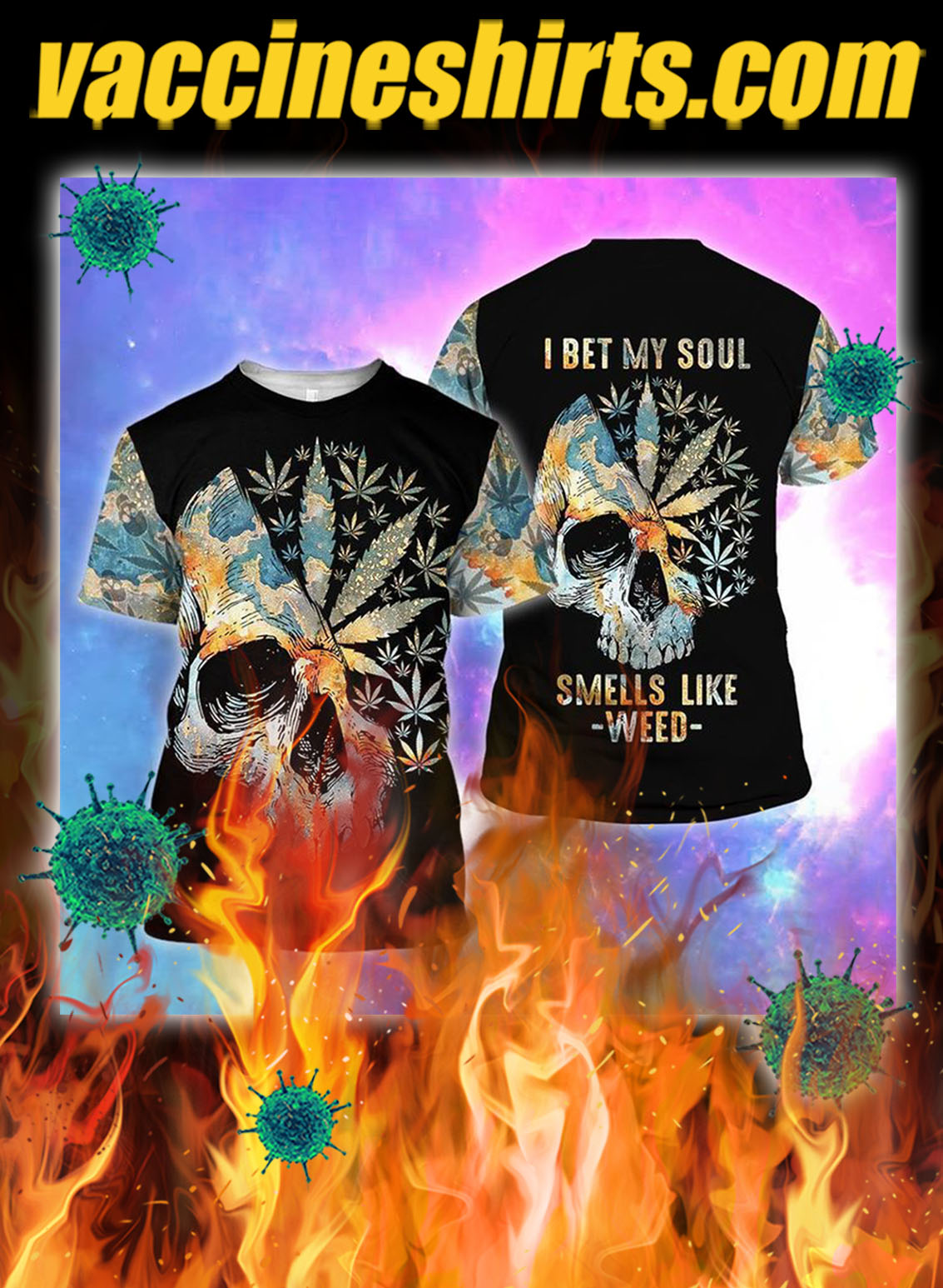 Skull I bet my soul smells like weed all over printed 3d shirt