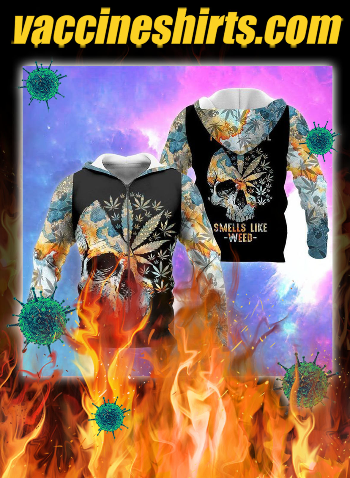 Skull I bet my soul smells like weed all over printed 3d zip hoodie