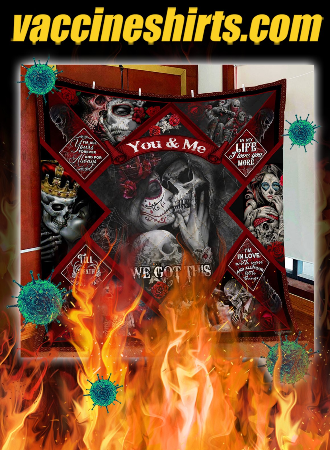 Skull couples you and me we got this quilt blanket - queen
