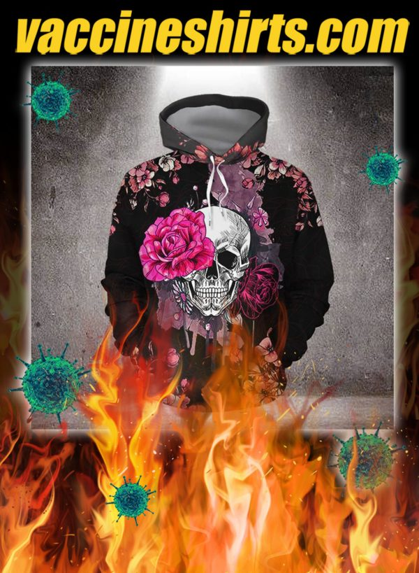 Skull pink rose 3d all over printed hoodie