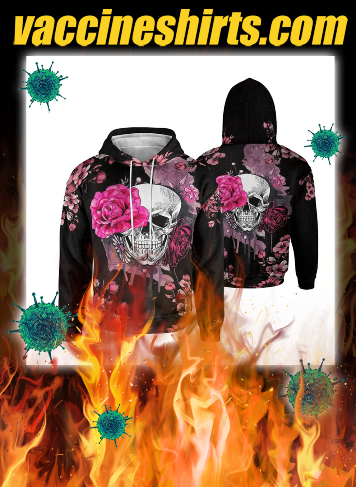 Skull pink rose 3d all over printed hoodie- pic 1
