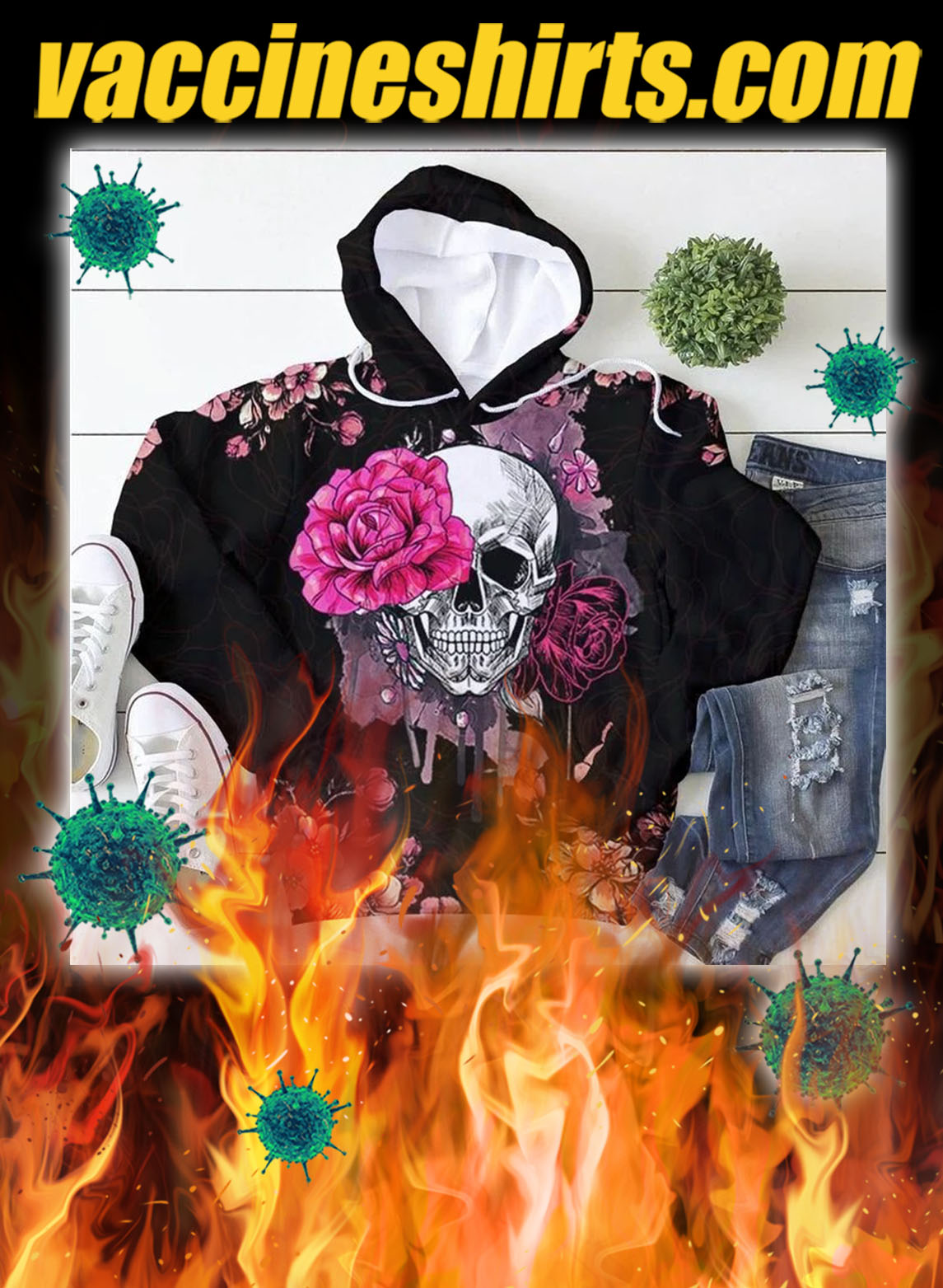 Skull pink rose 3d all over printed hoodie- pic 2