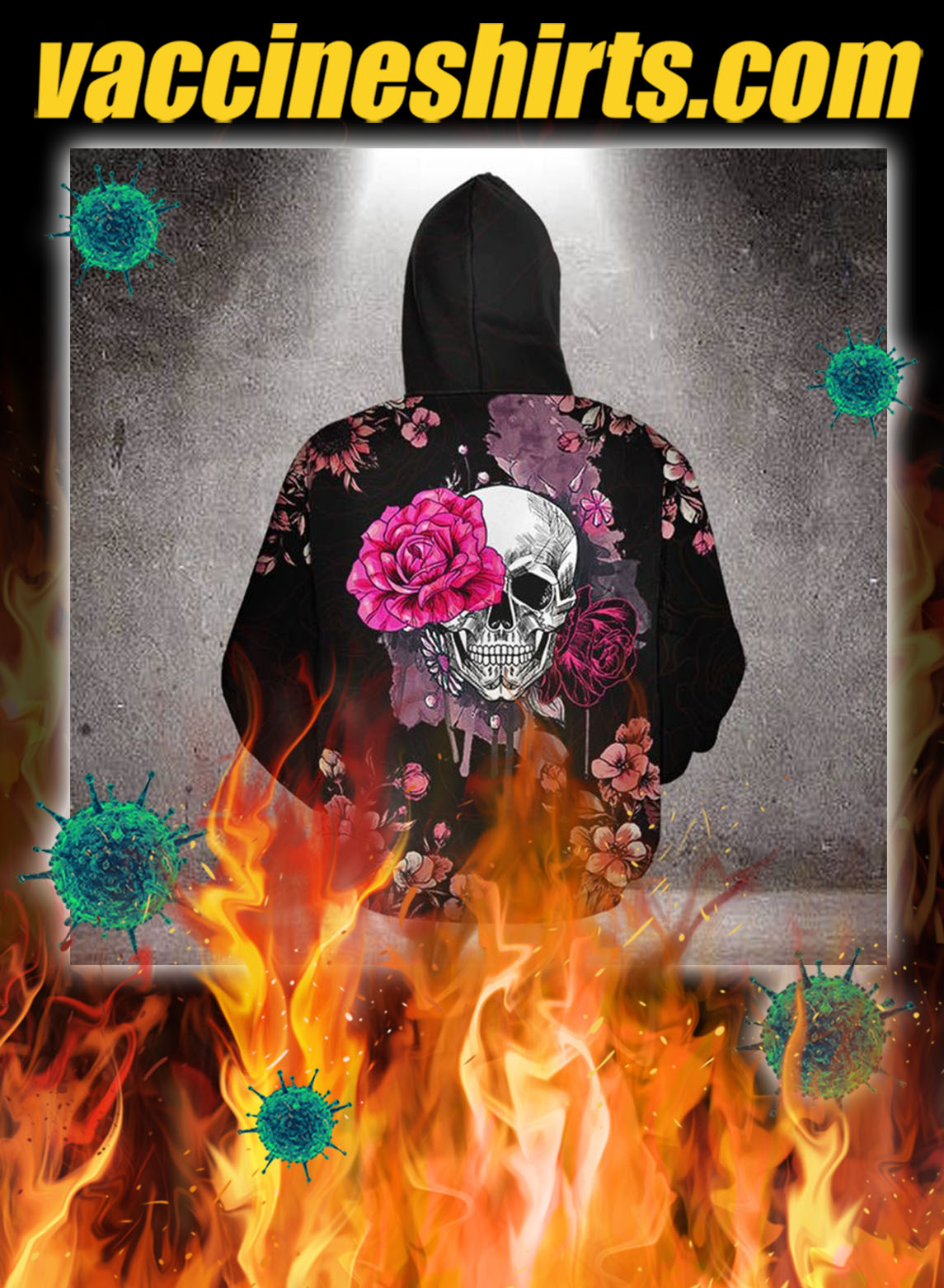 Skull pink rose 3d all over printed hoodie- pic 3