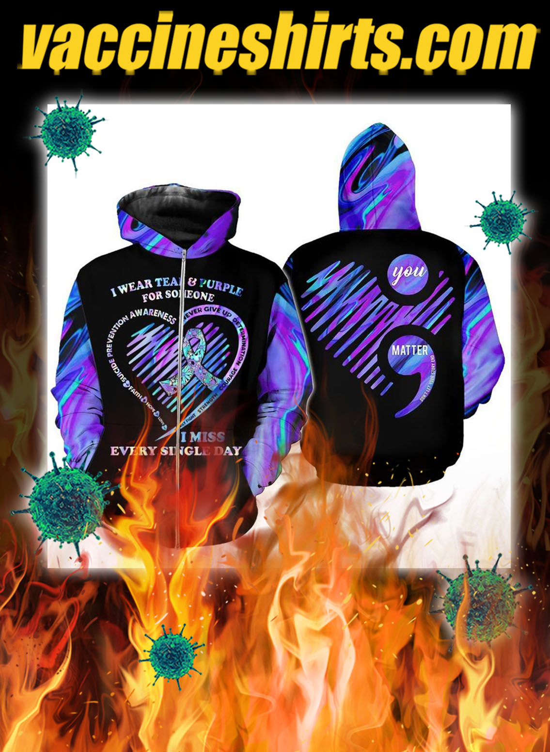 Suicide prevention awareness i wear teal and purple 3d zip hoodie