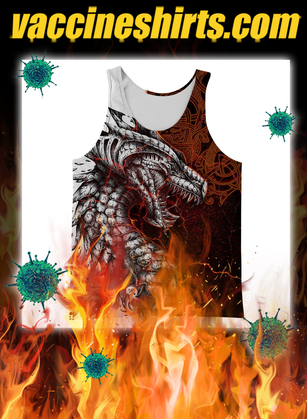 Tattoo dragon 3d all over printed tank top