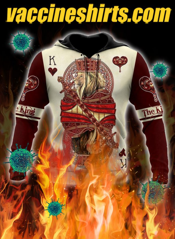 The king club lion poker over printed hoodie