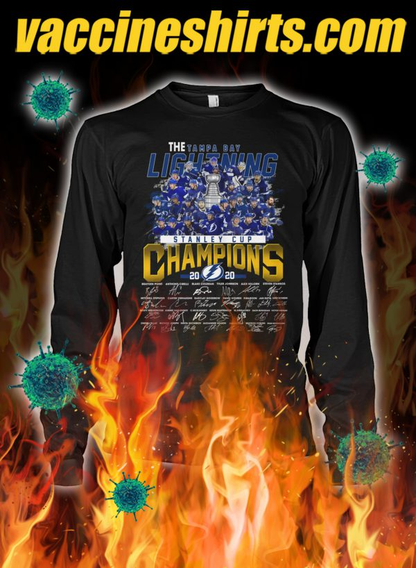 The tampa bay lightning stanley cup champions signature longsleeve tee