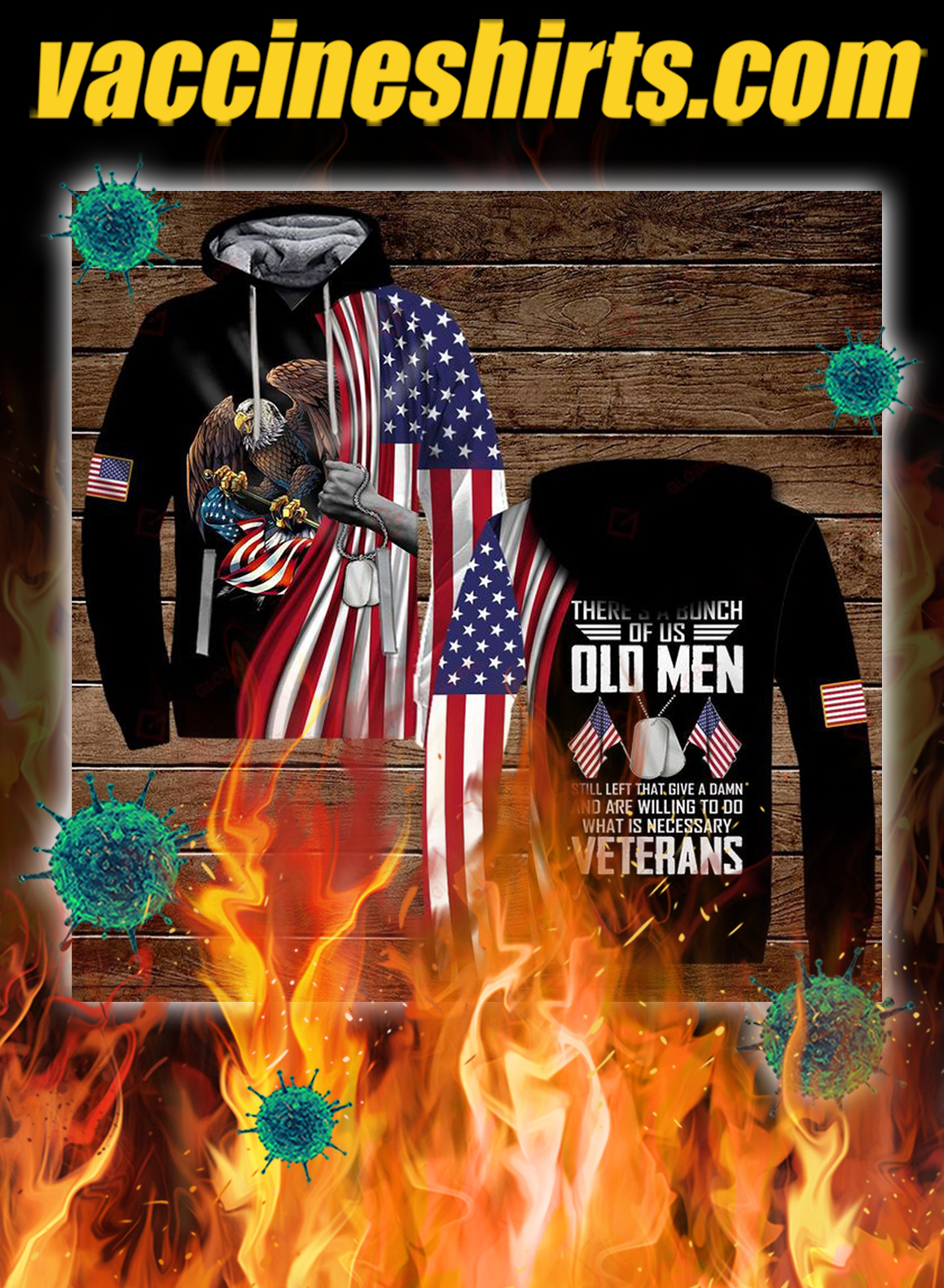 Veterans there's a bunch of us old men all over printed 3d hoodie