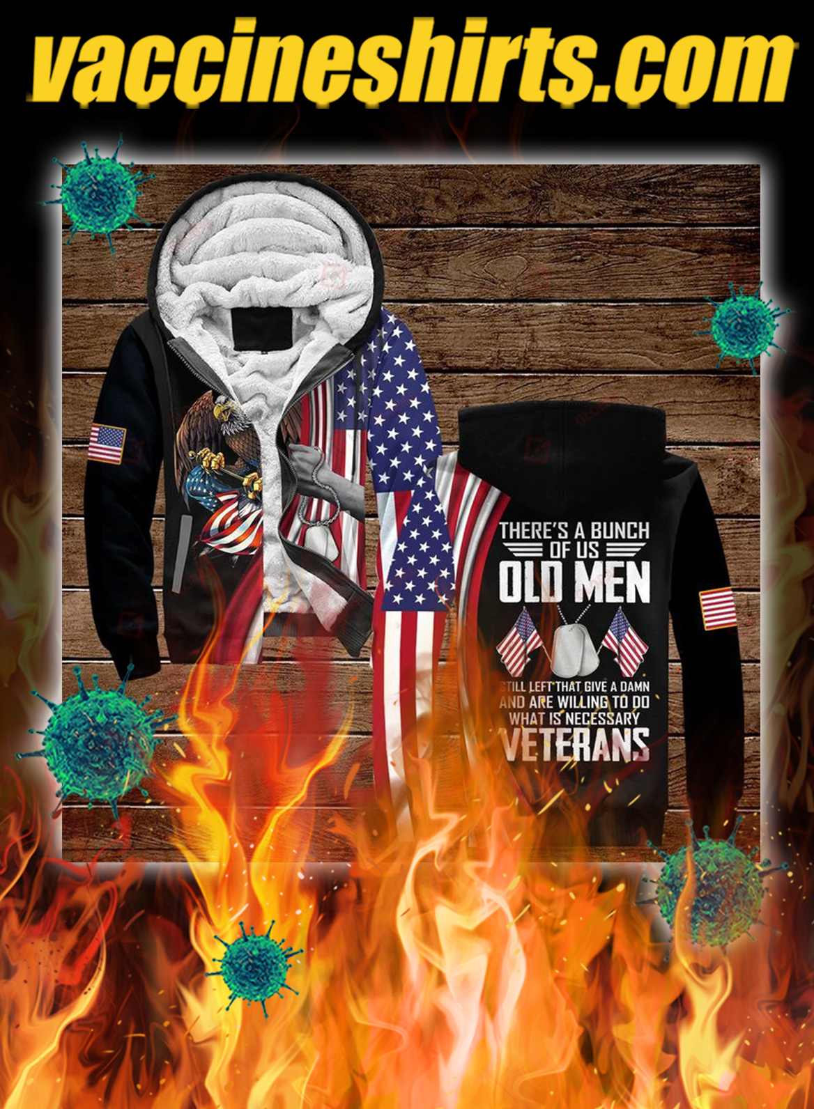 Veterans there's a bunch of us old men all over printed 3d zip hoodie