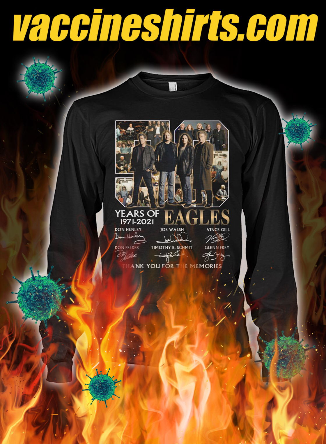 50 years of eagles thank you for the memories signature longsleeve tee