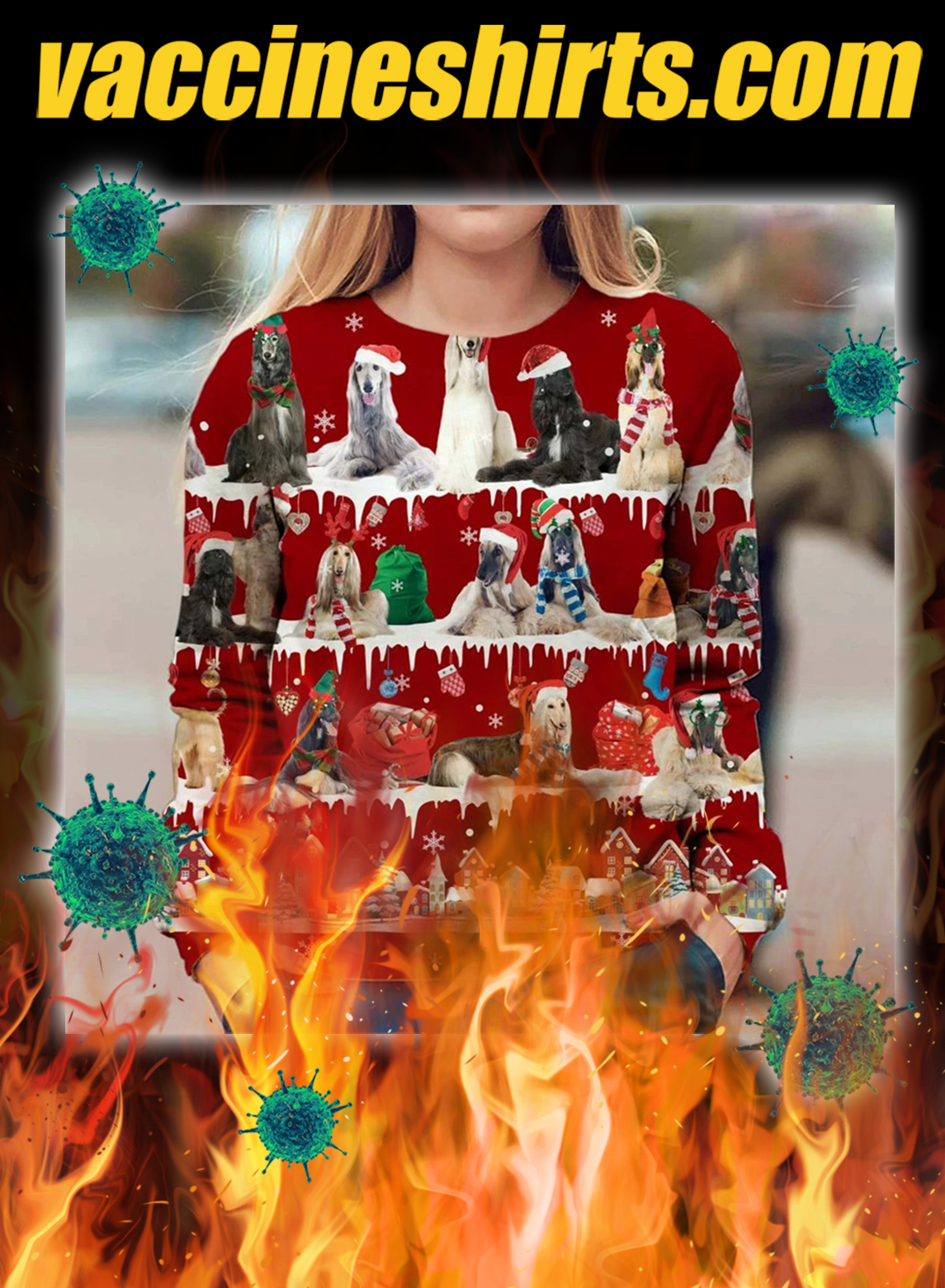 Afghan Hound snow christmas ugly sweater- pic 1
