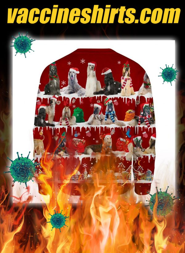 Afghan Hound snow christmas ugly sweater- pic 2