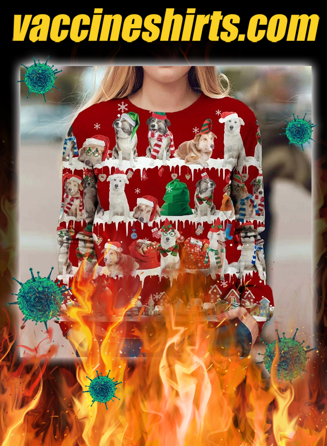 Aidi Dog snow christmas ugly sweater- pic 1