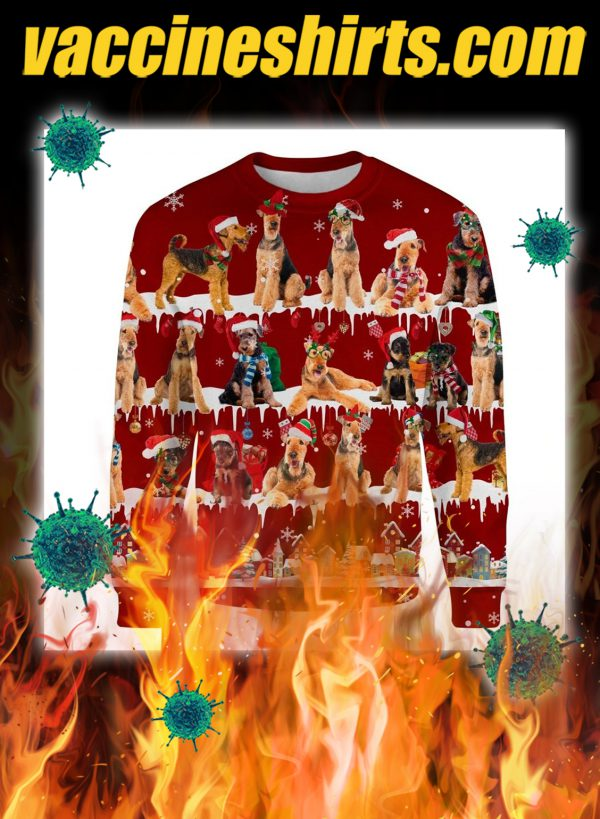 Airedale Terrier snow christmas ugly sweater