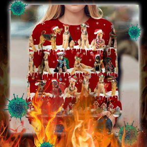 Airedale Terrier snow christmas ugly sweater- pic 1