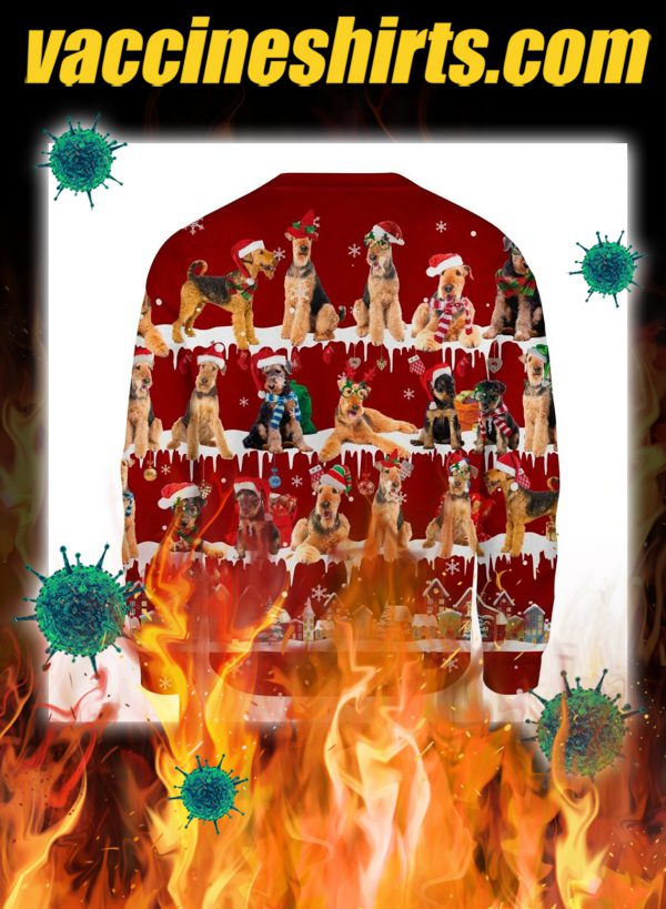Airedale Terrier snow christmas ugly sweater- pic 2